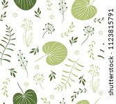 seamless pattern with leaves ... | Shutterstock .eps vector #1123815791