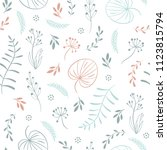 seamless pattern with leaves ... | Shutterstock .eps vector #1123815794