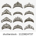 diamond diadem. beautiful... | Shutterstock .eps vector #1123824737