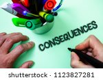 Small photo of Text sign showing Consequences. Conceptual photo Result Outcome Output Upshot Difficulty Ramification Conclusion Man holding black marker white background markers intention communicate.