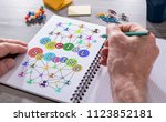 hand drawing social selling... | Shutterstock . vector #1123852181