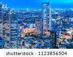 night view of tokyo seen from... | Shutterstock . vector #1123856504