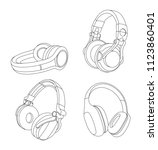 headphones vector illustration  ... | Shutterstock .eps vector #1123860401