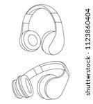 headphones vector illustration  ... | Shutterstock .eps vector #1123860404