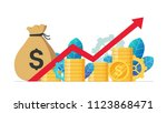 monetary profit and growing red ...   Shutterstock .eps vector #1123868471