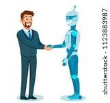 businessman shaking robot hand. ... | Shutterstock .eps vector #1123883987