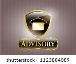gold emblem with hanger with... | Shutterstock .eps vector #1123884089