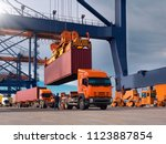 the container vessel during... | Shutterstock . vector #1123887854