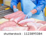 pork. the line for the... | Shutterstock . vector #1123895384