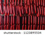 sausage. sausage production... | Shutterstock . vector #1123895534