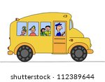 school bus with children on the ... | Shutterstock .eps vector #112389644