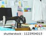 retro sewing machine on... | Shutterstock . vector #1123904015