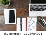 laptop  tablet and notebook are ... | Shutterstock . vector #1123904021