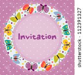 invitation card for children's... | Shutterstock .eps vector #112391327