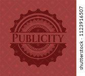 publicity badge with red... | Shutterstock .eps vector #1123916507