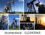 Oil Pump Jack and refinery split screen - stock photo