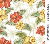 tropical red  yellow hibiscus... | Shutterstock .eps vector #1123925327