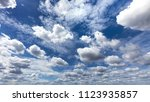 cloudy blue sky wide angle shot | Shutterstock . vector #1123935857