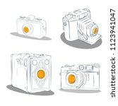 old photographic machines....   Shutterstock .eps vector #1123941047