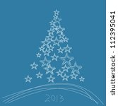 christmas tree 2013 with stars... | Shutterstock . vector #112395041