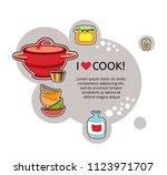 kitchen dishes banner. i love... | Shutterstock .eps vector #1123971707