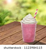 strawberry frappuccino smoothie ...   Shutterstock . vector #1123984115