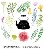 watercolor vector floral... | Shutterstock .eps vector #1124002517