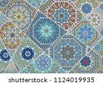 vector patchwork quilt pattern. ... | Shutterstock .eps vector #1124019935