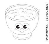 breakfast porridge cartoon.... | Shutterstock .eps vector #1124025821