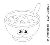 breakfast porridge cartoon.... | Shutterstock .eps vector #1124025827