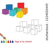rainbow cubes. educational game ... | Shutterstock .eps vector #1124032445
