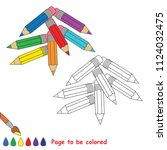 rainbow pencil. educational... | Shutterstock .eps vector #1124032475