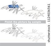 drawing worksheet for preschool ... | Shutterstock .eps vector #1124036561