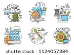 set of outline icons of... | Shutterstock .eps vector #1124057384