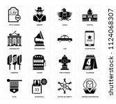 set of 16 icons such as george... | Shutterstock .eps vector #1124068307