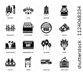 set of 16 icons such as white...