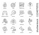 set of 16 icons such as... | Shutterstock .eps vector #1124070551