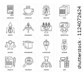 set of 16 icons such as desk ...