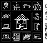 set of 13 simple editable icons ... | Shutterstock .eps vector #1124073191