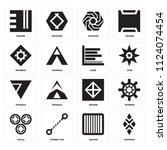 set of 16 icons such as rhombus ...