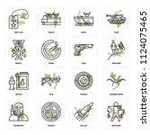 set of 16 icons such as refugee ...