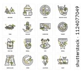 set of 16 icons such as boat ...