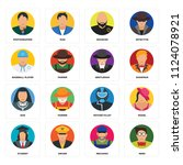 set of 16 icons such as nerd ...