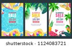summer sale vector poster ... | Shutterstock .eps vector #1124083721