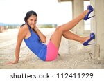 woman in pink mini skirt | Shutterstock . vector #112411229