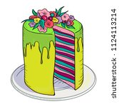 colorful delicious cake on... | Shutterstock .eps vector #1124113214
