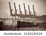 seattle  wa   aug 14  crane... | Shutterstock . vector #1124134124