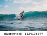 surf girl on surfboard. woman... | Shutterstock . vector #1124136899