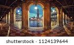 hallway night panorama view at... | Shutterstock . vector #1124139644