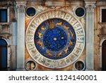 clock with horoscope in... | Shutterstock . vector #1124140001